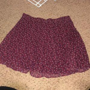 Old Navy Burgundy Floral Print Skirt 1X